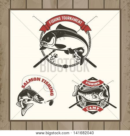 fishing tournament labels. Carp fishing salmon fishing perch fishing. Design elements for logo label emblem sign brand mark. Vector illustration.