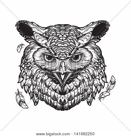 Beautiful detailed illustration of an owl head in frontal view. Coloring book for adults illustration. Sybol of wisdom and knowledge. Mystic halloween concept art. EPS10 vector illustration.