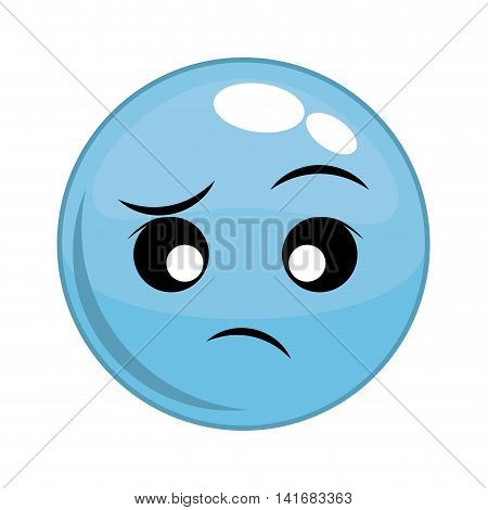 indifferent face sphere cartoon expression emotion icon. Isolated and flat illustration. Vector graphic
