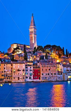 Town of Rovinj evening vertical view Istria Croatia