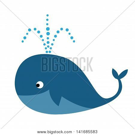 Illustration of cute cartoon whale on white