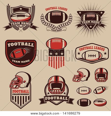 Set of the american football labels emblems and design elements. Football icons. Football league. American football championship. Vector design elements.