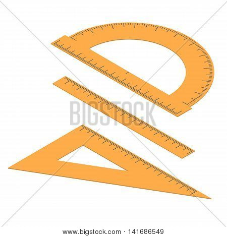 Set of lines. Straight and angular ruler and protractor. Tool for measuring length in the isometric. Centimeters millimeters and degrees. Stationery Orange color. Vector illustration.