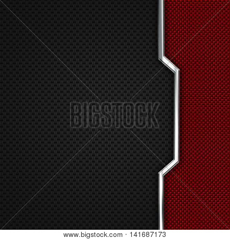 red black carbon fiber and chromium frame. metal background. material design. 3d illustration.