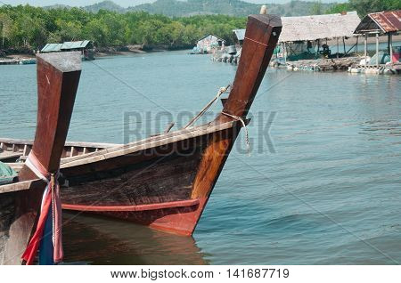 Fishing boats ashore Fishing boat in Thailand