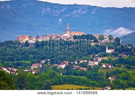 Town of Buzet on green istrian hill Istria Croatia