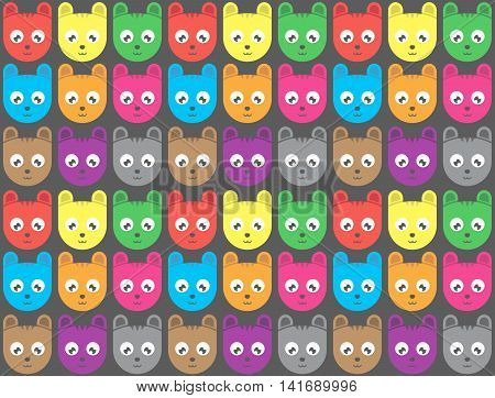 Seamless Cartoon Tiger Head Pattern