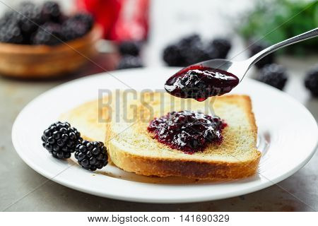 Toast with homemade blackberry jam