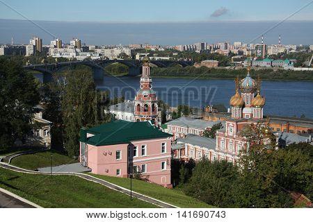 Panorama of Stroganov church and Oka river in Nizhny Novgorod, Russia