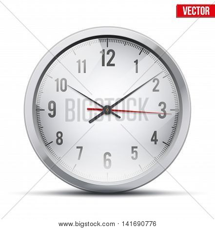 Office Wall Clock for business and financial design. Symbol of time. Editable Vector illustration Isolated on white background.