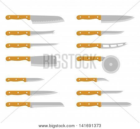 Set of steel kitchen knives carving, paring, and utility sharp tool cooking equipment collection. Sharp kitchen knife vector illustration isolated on white background