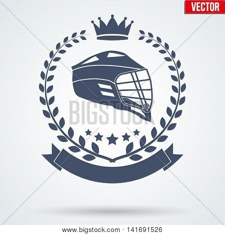 Lacrosse Club Badge and Label with helmet. Side view. Emblem of sport team. Vector icons isolated on background. poster