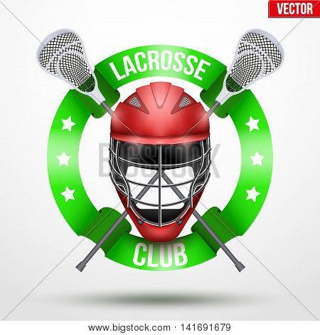 Lacrosse sticks and helmet with ribbons. Sporting Symbol and mascot. Vector Illustration Isolated on background.