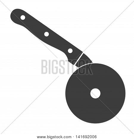 Pizza cutter knife icon steel kitchenware silver cooking equipment in flat style. Black kitchen cutter icon for pizza sharp blade cook isolated on white background
