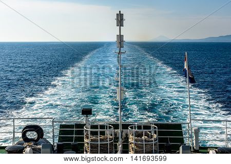 Wake Water Trail From A Ferry Ship In Croatia.