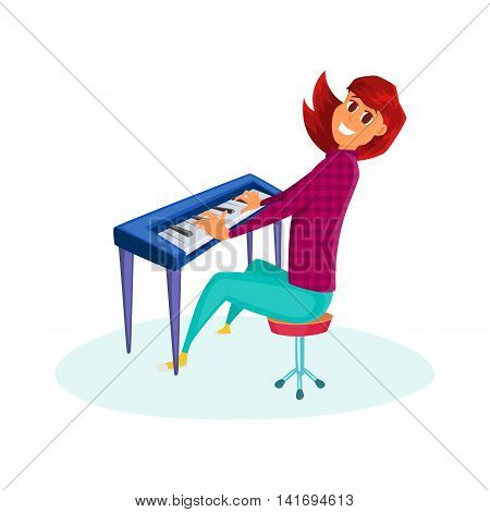 Girl playing the piano. Cartoon vector illustration of teenage girl playin on piano. Isolated on white.