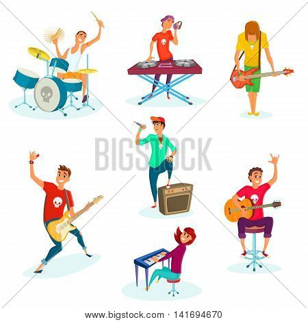 Cartoon rock teenage band set. Isolated on white. Young musicians characters.