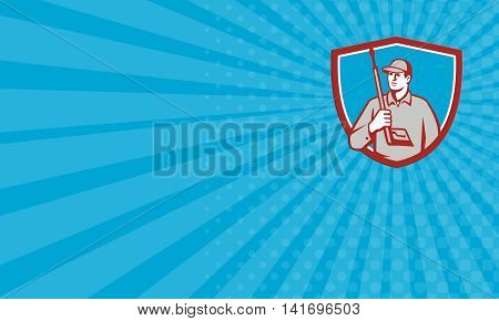 Business card showing illustration of power washer worker holding pressure washing gun on shoulder looking to the side viewed from front set inside shield crest on blue sunburst background done in retro style.