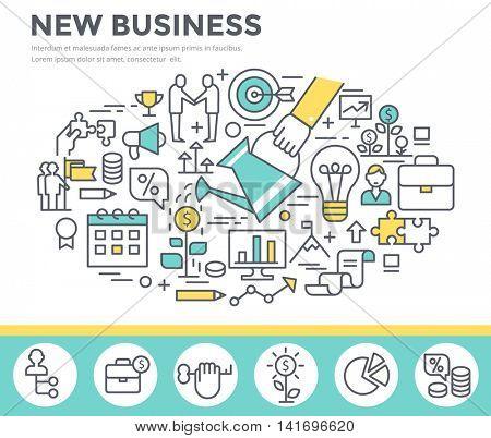 New business concept illustration, thin line, flat design