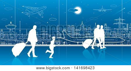 Airport terminal, aircraft on runway, airplane takeoff, airport scene, people expect flight, transportation infrastructure on background, vector design art