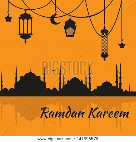Ramadan Kareem - Islamic Holy Nights, Theme Design background, Ramadan latern, saint fest, arabian and turk religion culture set. Mosque with minaret, east cityscape, Night city poster