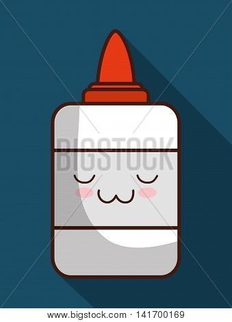 School design represented by kawaii glue icon. Colorfull and blue background.