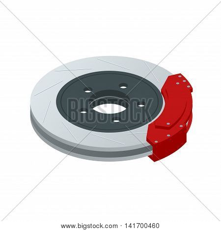 Isometric Automobile braking system. Aeration steel brake disk with perforation and red six pistons calipers and pads. Tuning auto parts. Isolated on white background 3d
