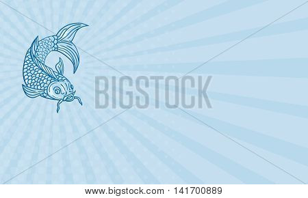 Business card showing drawing sketch style illustration of a trout fish diving down viewed from the front set on blue sunburst background.