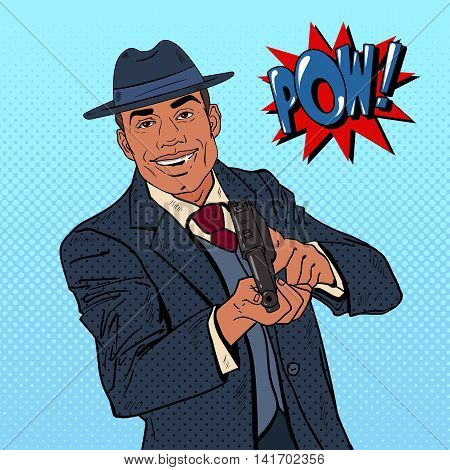 Pop Art Mafia Boss with Gun and Golden Tooth. Vector illustration
