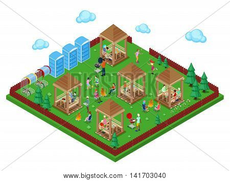 Family Grill BBQ Area in the park with Active People Cooking Meat and Playing Sports. Isometric City. Vector illustration