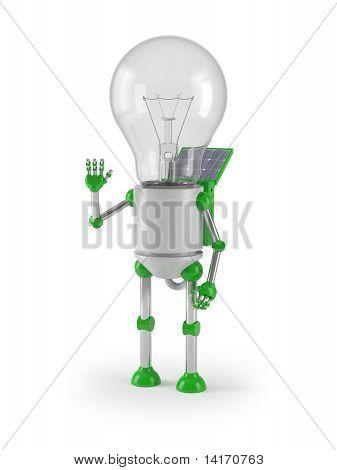 renewable energy - light bulb robot greeting