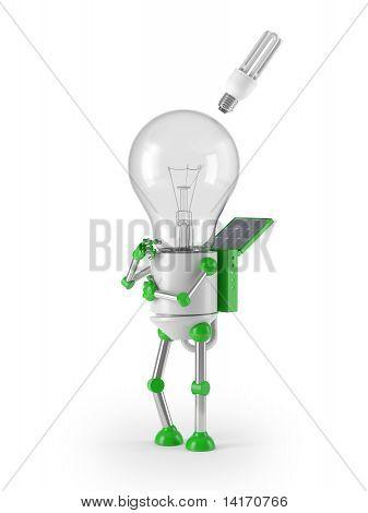 renewable energy - light bulb robot idea