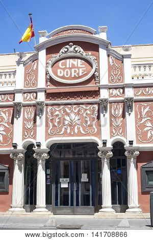 Madrid Spain - July 11 2016: Dore Cinema building currently exhibition stage of Spanish Cinemathèque