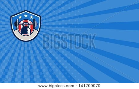 Business card showing illustration of a kettlebell hanging on a barbell set inside shield crest with stars and stripes usa flag in the background done in retro style.