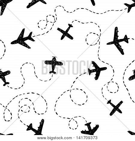Seamless vector black and white pattern - doodle airplanes with ways