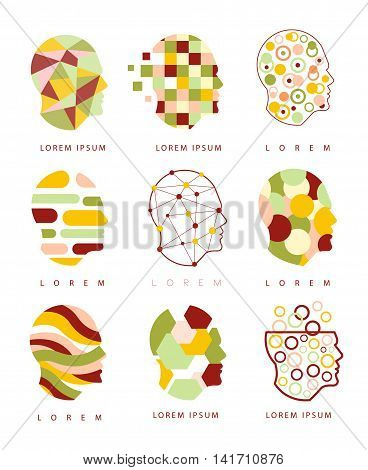 Thinking Inside Human Head Different Geometric Abstract Design Icons. Head Shape Filled With Patterns As Creative Thinking Symbol.
