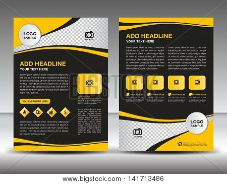 Yellow business brochure flyer design layout template in A4 size, newsletter, leaflet,vector, cover, annual report , magazine ads, poster,  catalog