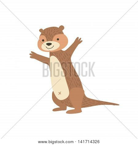 Chipmunk Standing With Arms In The Air Stylized Cute Childish Flat Vector Drawing Isolated On White Background