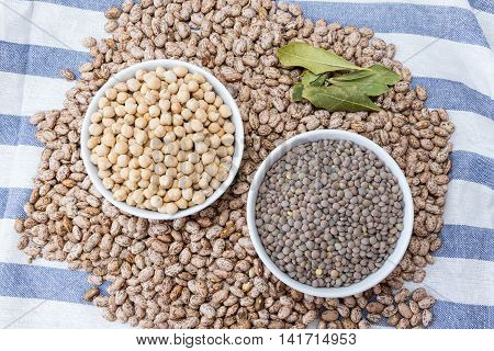 beans, chickpeas and lentils in porcelain bowls on a dishcloth