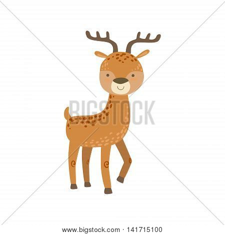 Brown Spotter Deer With Antlers Stading Stylized Cute Childish Flat Vector Drawing Isolated On White Background