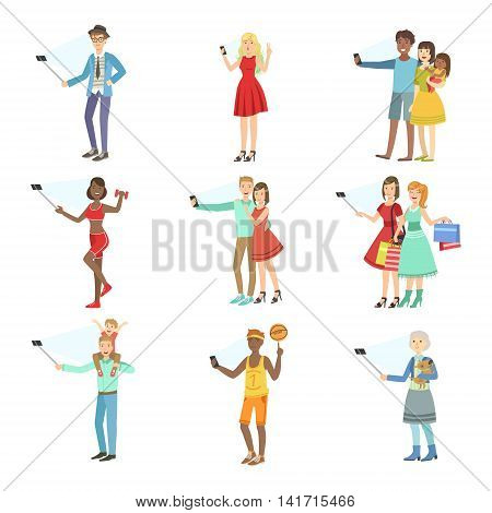 People Taking Picture With Selfie Stick Set Of Illustrations.Colorful Simplified Character Collection Of Flat Vector Drawings Isolated On White Background.