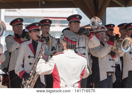 Fanfare Band At A Kiosk