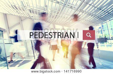 Pedestrian Commuter Walking Foot Traffic Commuting Concept