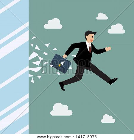 Businessman jump and broke glass window. Business concept