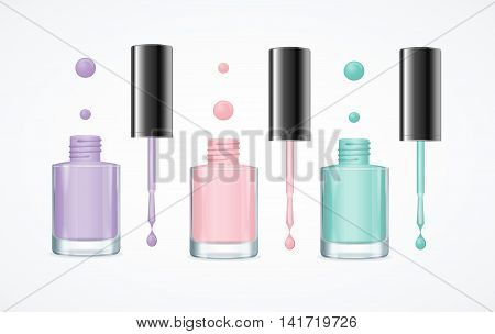 Colorful Nail Polish Open Bottle Set for Manicure and Pedicure. Vector illustration