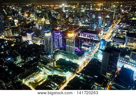 Night in Bangkok cityscape . The view from the heights