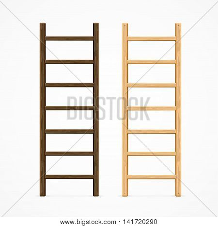 Set of Various Wooden Step Ladders. Vector illustration