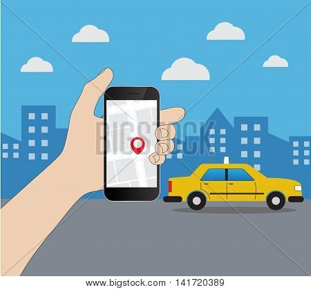 Phone with interface taxi on a screen on a background the city. Mobile app for booking service. Flat vector illustration