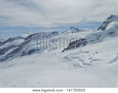 Jungfraujoch summit, the alpine scenery in Switzerland