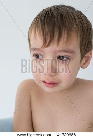 Kid crying closeup